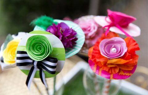 DIY Whimsical Derby Hat Drink Stirrers